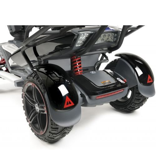 Rear view of TGA, Vita X, Electric Mobility Scooter, suspension and tyres
